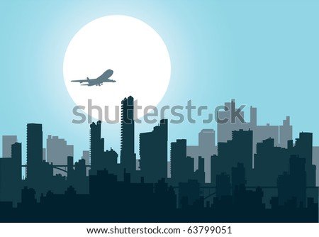 Silhouette of the city at night at sunset, and the aircraft - stock vector