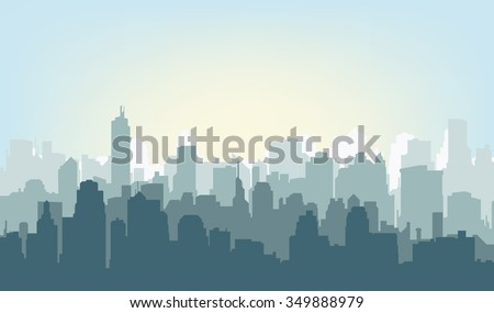 Silhouette of the city at sunrise - stock vector