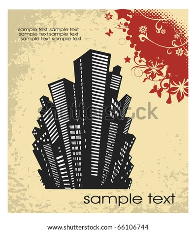 silhouette of the city in a retro style on a yellow - stock vector