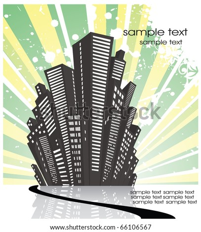 silhouette of the city in a retro style on the green - stock vector