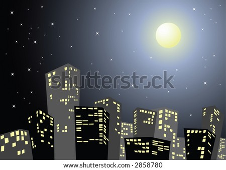 Silhouette of the city in the night - stock vector