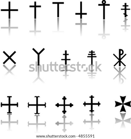 silhouette of the crosses on the white background