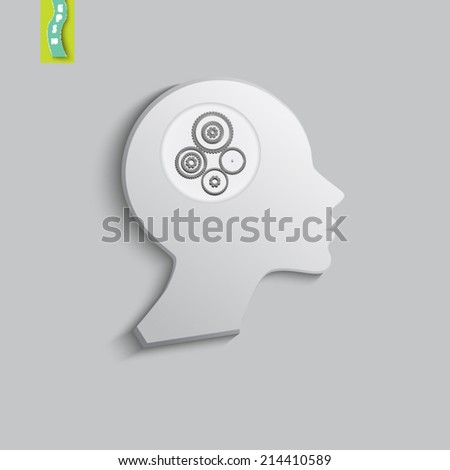 silhouette of the female head with gears - stock vector