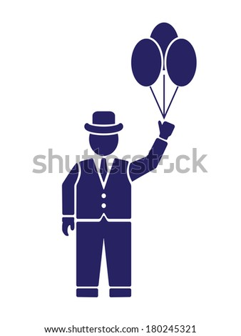 silhouette of the gentleman with the elements in the hands  - stock vector