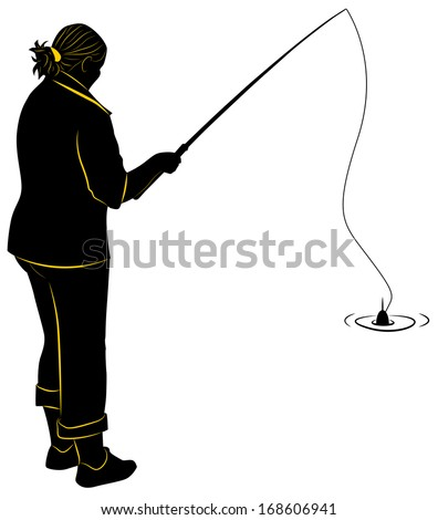 Silhouette of the girl with a fishing rod