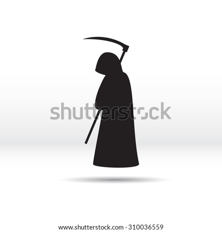 Silhouette of the grim Reaper. Vector illustration. - stock vector
