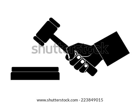 silhouette of the hand with a hammer - stock vector