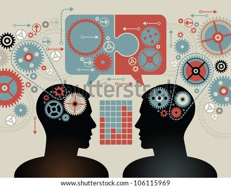 silhouette of the head, brain, and pulses. process of human thinking. The concept of intelligence. People communication with the outside world. File is saved in AI10 - stock vector