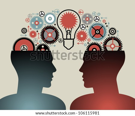 silhouette of the head, brain, and pulses. process of human thinking. The concept of intelligence. People communication with the outside world. File is saved in AI10