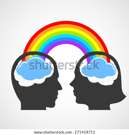Silhouette of the head of man and woman. Vector image. - stock vector