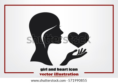 Silhouette of the heart in the girl's hand icons vector. Heart protection sign flat style. Postcard to the day of lovers