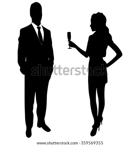 silhouette of the lady and gentleman - stock vector