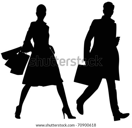 Silhouette of the man and the woman - stock vector