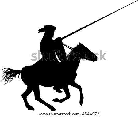 Silhouette of the medieval knight on a horse - stock vector
