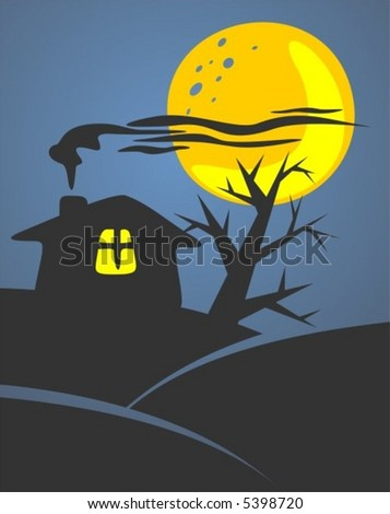 Silhouette of the mysterious house and tree on a background of the moon and the night sky.