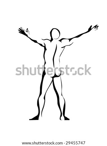 Silhouette of the naked athlete waved hands