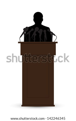 silhouette of the person before a microphone - stock vector