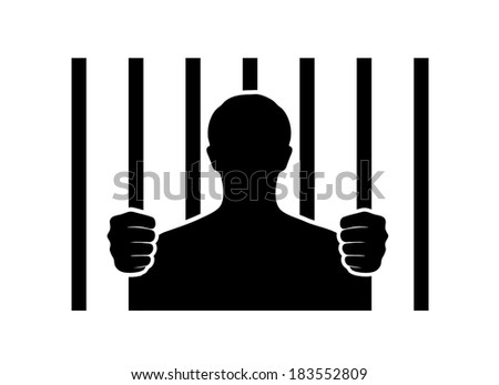 silhouette of the person in the conclusion - stock vector