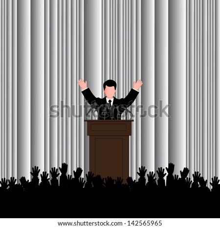 silhouette of the politician before a microphone - stock vector