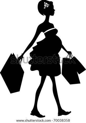 Silhouette of the pregnant woman with packages. Vector - stock vector