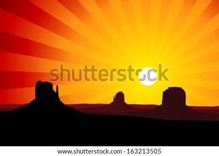 Silhouette of the rock formations of Monument Valley Arizona, USA against a red sunset sky - stock vector