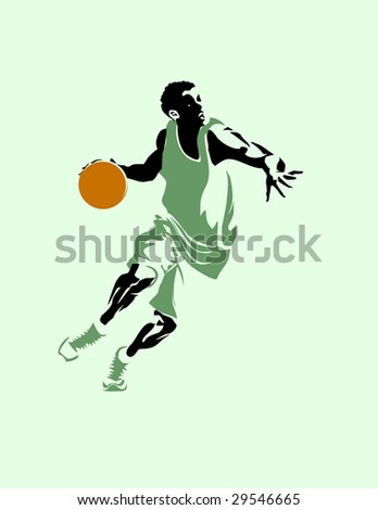 Silhouette of the running basketball player with a ball. Vector - stock vector