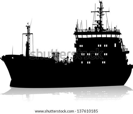 Silhouette of the sea cargo ship - stock vector