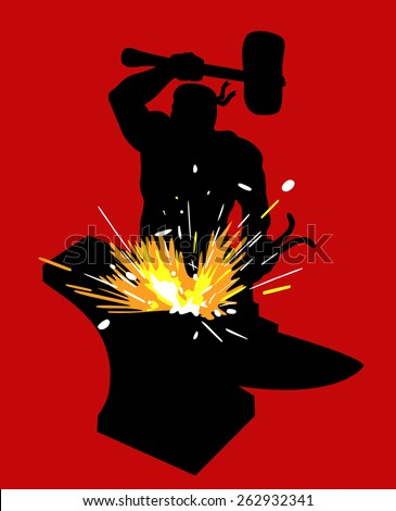 Silhouette of the smith on a red background. Blacksmith forges iron on the anvil, sparks fly. - stock vector
