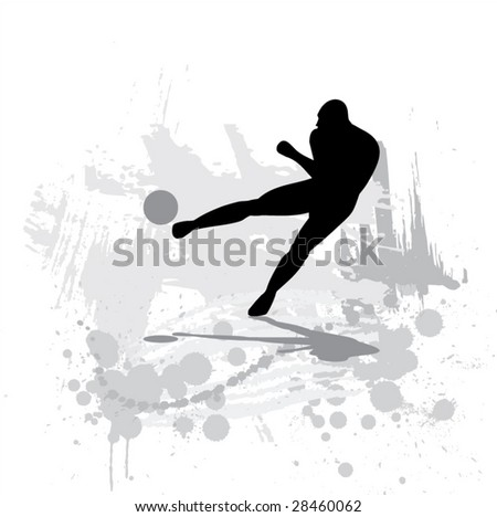 Silhouette of the soccer player on abstract background. - stock vector