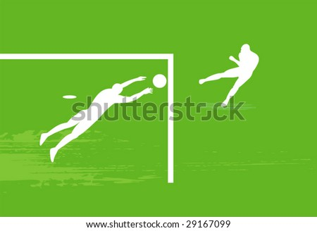Silhouette of the soccer players. - stock vector