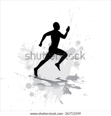 Silhouette of the sportsman on abstract background. - stock vector
