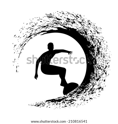 silhouette of the surfer on an ocean wave in style grunge - stock vector