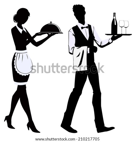 silhouette of the waitress and the waiter at restaurant - stock vector