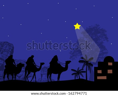 Silhouette of Three Kings and shining star of Bethlehem, vector illustration