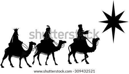Silhouette of three Kings traveling on camel back from the East following the Star of Bethlehem isolated - stock vector