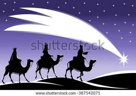Silhouette of three Kings travelling on camel back from the East following the Star of Bethlehem nighttime