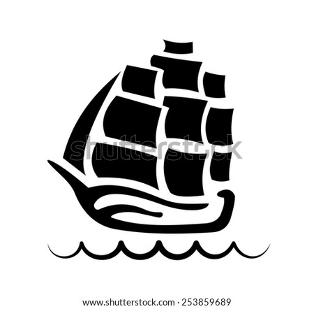 silhouette of three-masted sailing ship at the crest of a wave - stock vector