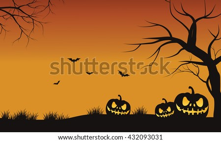 Silhouette of three pumpkins with orange backgrounds