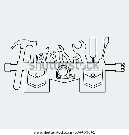 tool belt clipart. silhouette of tool belt. flat vector cartoon illustration. objects isolated on a white background belt clipart i