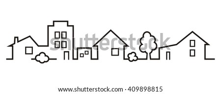 silhouette of town - stock vector