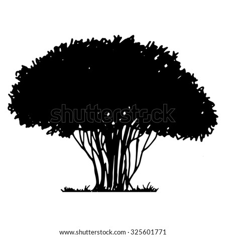 Silhouette of tree and grass, hand drawn vector illustration