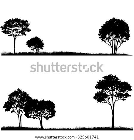 Silhouette of tree and grass, landscapes template, hand drawn vector illustration - stock vector