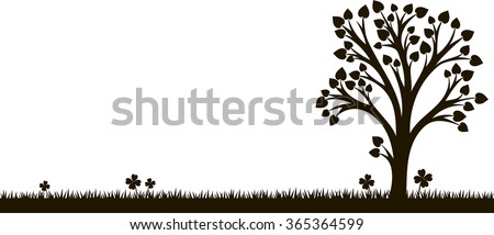 silhouette of tree with leaves at grass, vector illustration