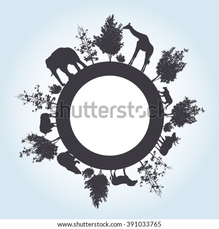Silhouette of trees and wild animals walking around the world with place for text - stock vector