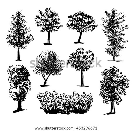 Silhouette of trees set 1, ink painting - stock vector
