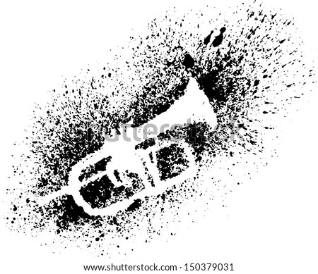 Silhouette of trumpet with grunge black splashes.