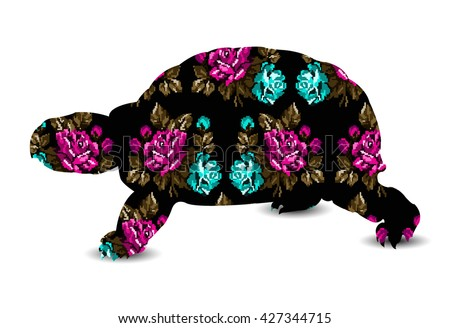 Silhouette of turtle with color bouquet of flowers roses pink, blue, green tones on the black background using  ethnic elements. - stock vector
