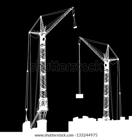 Silhouette of two cranes working on the building. Vector illustration. - stock vector