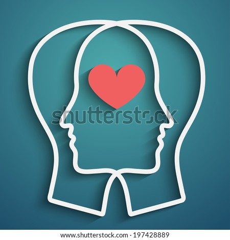 SIlhouette of two heads with heart symbol, vector eps10 - stock vector