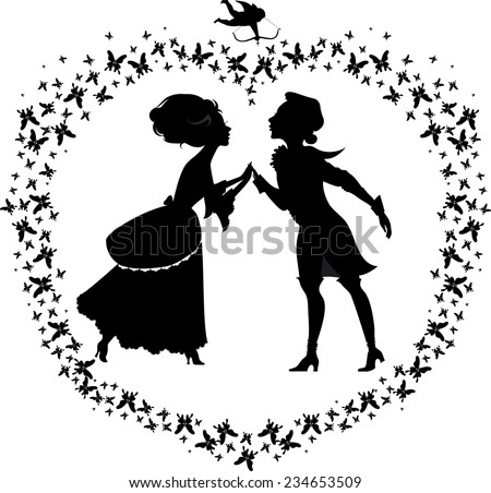 Silhouette of two lovers in heart shape made with butterflies - stock vector
